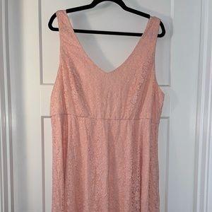 EUC TORRID Pink Lace Tank Skater Dress Sz 2